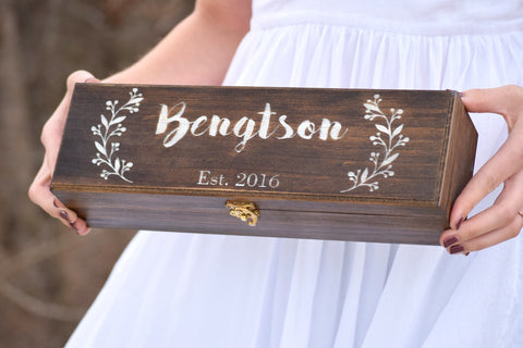 Dark Walnut Leaf Designed Wine Box with White Engraving