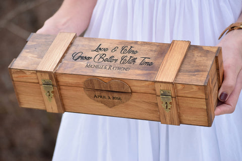 Double Lockable Box with Personalized Top and Heart Engraving