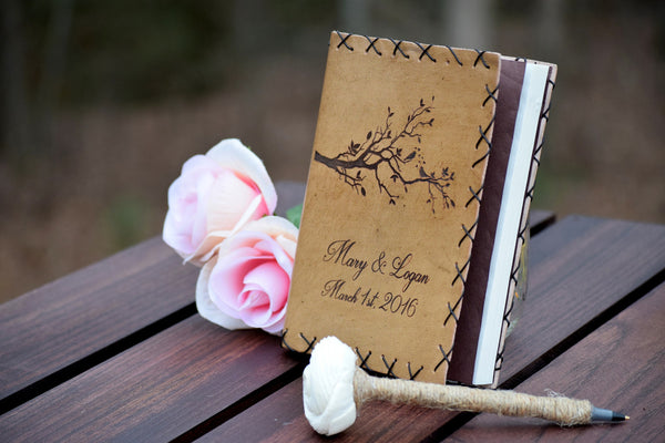 Love Birds Personalized Leather Journal