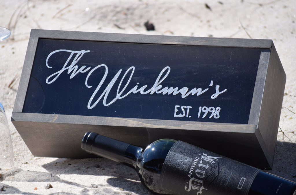 Personalized Wine Box with Slide Out Top
