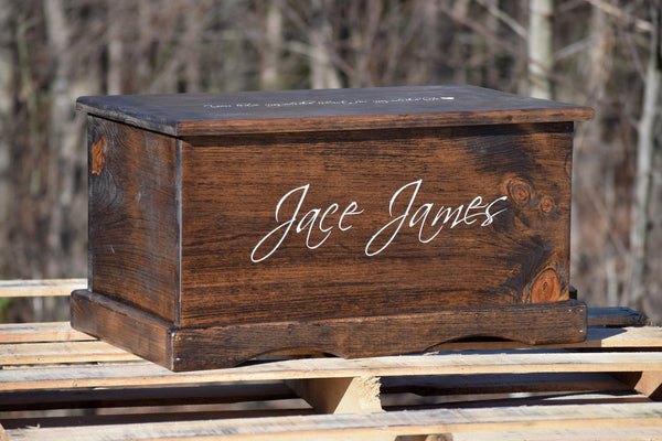 Personalized Toy Box with Front and Top Lid Engraving