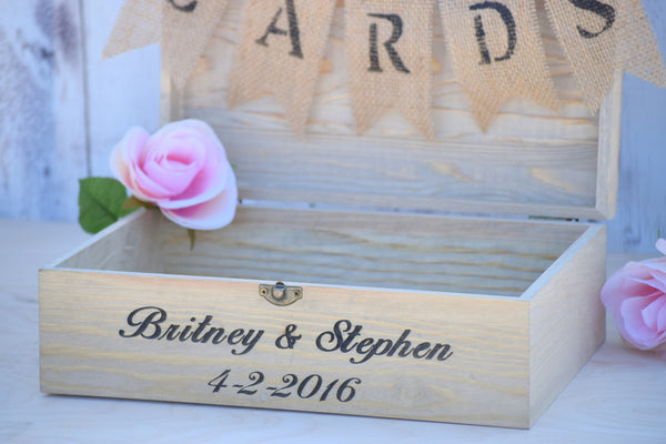 Personalized Flat Top Card Box with Burlap Banner