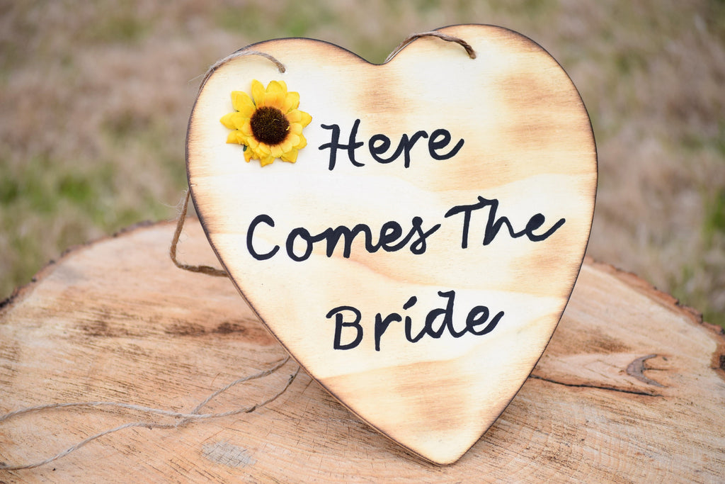 Here Comes The Bride Hand Painted Sign