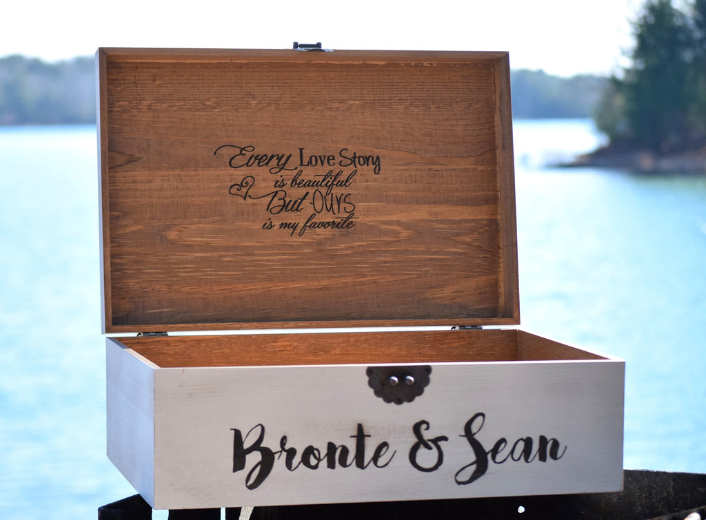 Distressed Wedding Card Box with Inside Lid Engraving