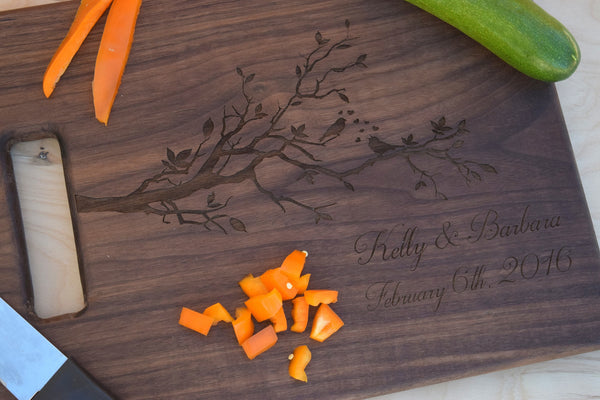 Personalized Love Birds Themed Cutting Board with Handle