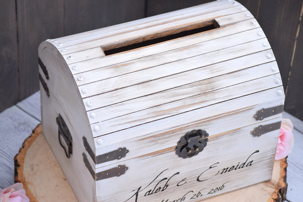 White Distressed Card Box with Card Slit