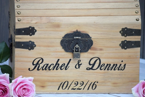 Secured Lockable Laser Engraved Personalized Wooden Card Box
