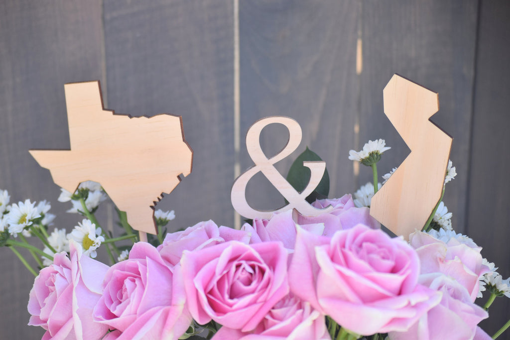 Wooden Wedding State Cake Toppers