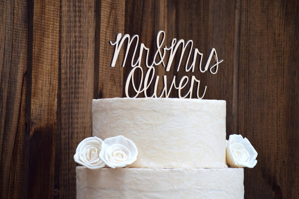 Personalized Mr and Mrs Cake Topper