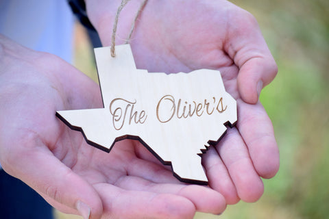 State Cut Out Personalized Wooden Ornament