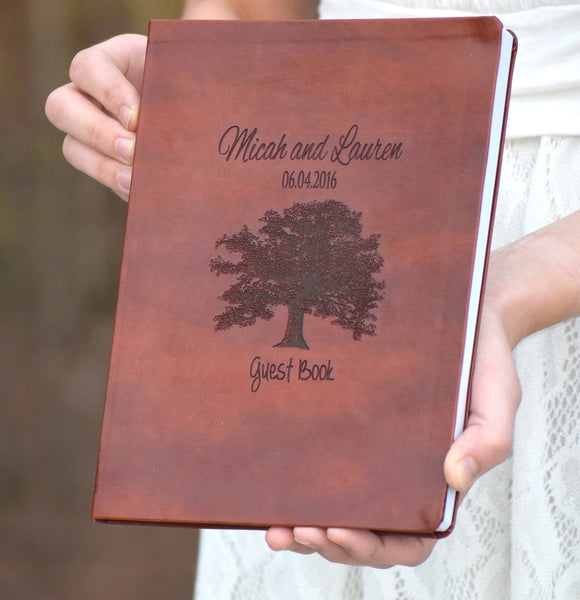 Oak Tree Designed Leather Guest Book