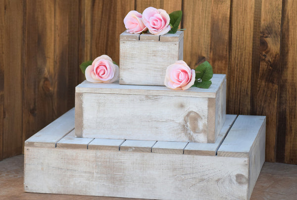 Distressed Wood Cupcake Stand - 3 Tier Cupcake Holder