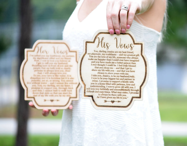 Wooden Vow Cards