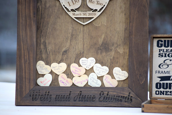 Love Birds Heart Drop Wedding Guest Book Alternative