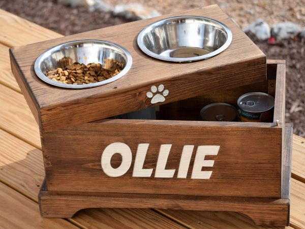 Personalized Elevated Dog Feeder with Storage Box
