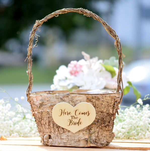Here Comes The Bride Birch Flower Girl Basket