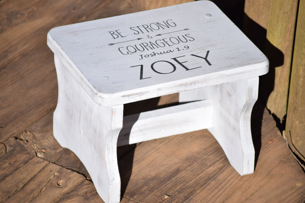 White Ditressed Personalized Kids Stepping Stool