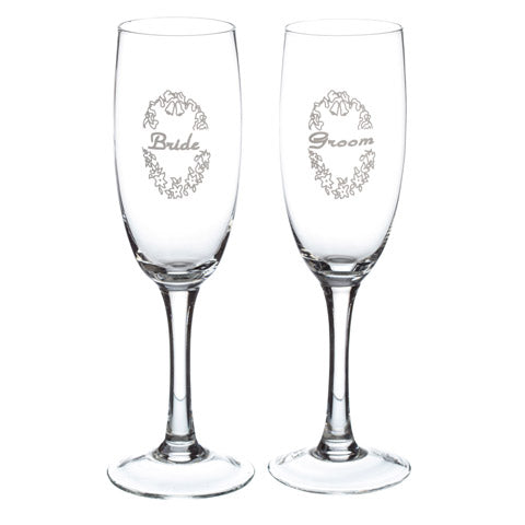 Champagne Glass - Painted Bride and Groom