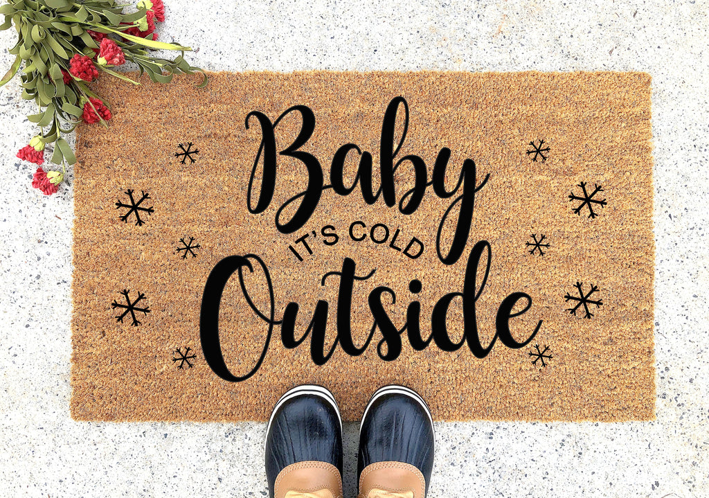 Baby Its Cold Outside Doormat Welcome Mat Holiday Decor