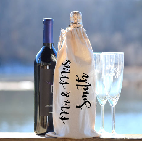 Personalized Mr and Mrs Wine Bag