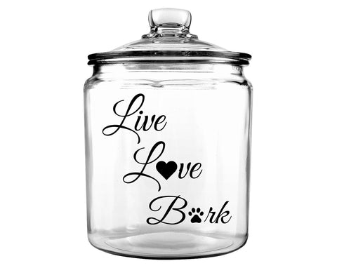Live Love Bark Glass Dog Bone Jar with Lid