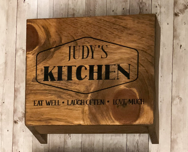Small Step Stool-Kids Step Stool-Personalized Stool-Kitchen Stool-Bathroom Stool-Step Stool-Wood Stool-Engraved Step Stool