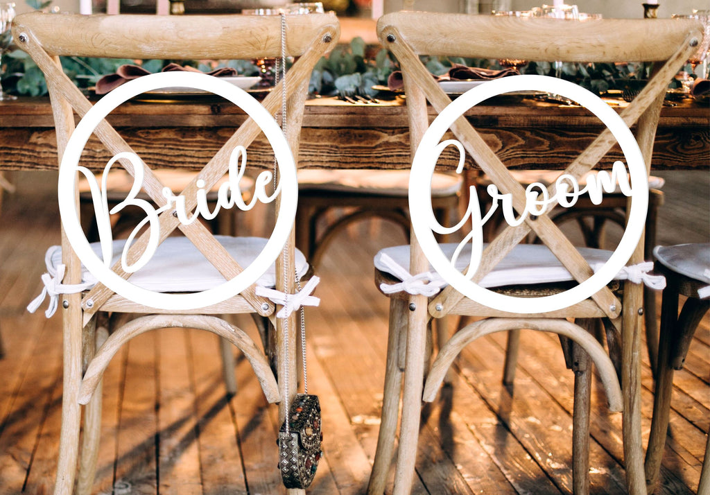 Bride and Groom Wedding Chair Signs