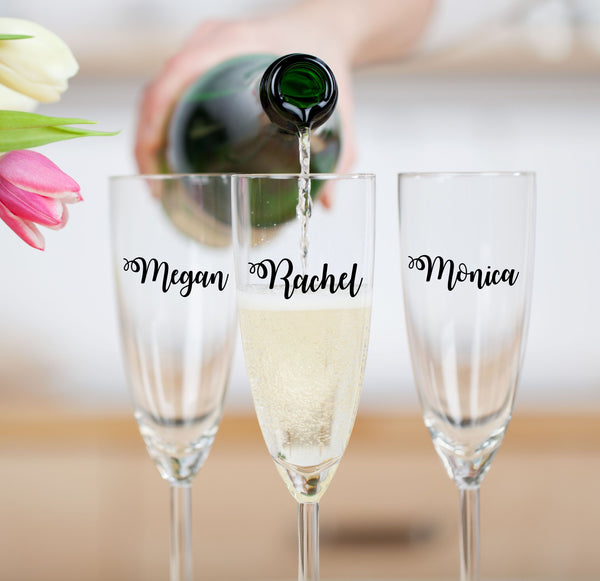 Personalized Bridal Party Toasting Flutes