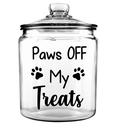 Paws OFF My Treats Glass Jar with Lid