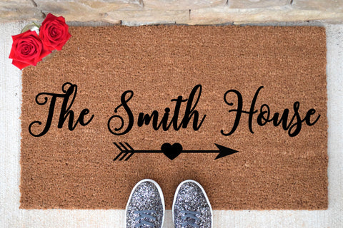 Personalized Doormat with Heart Arrow