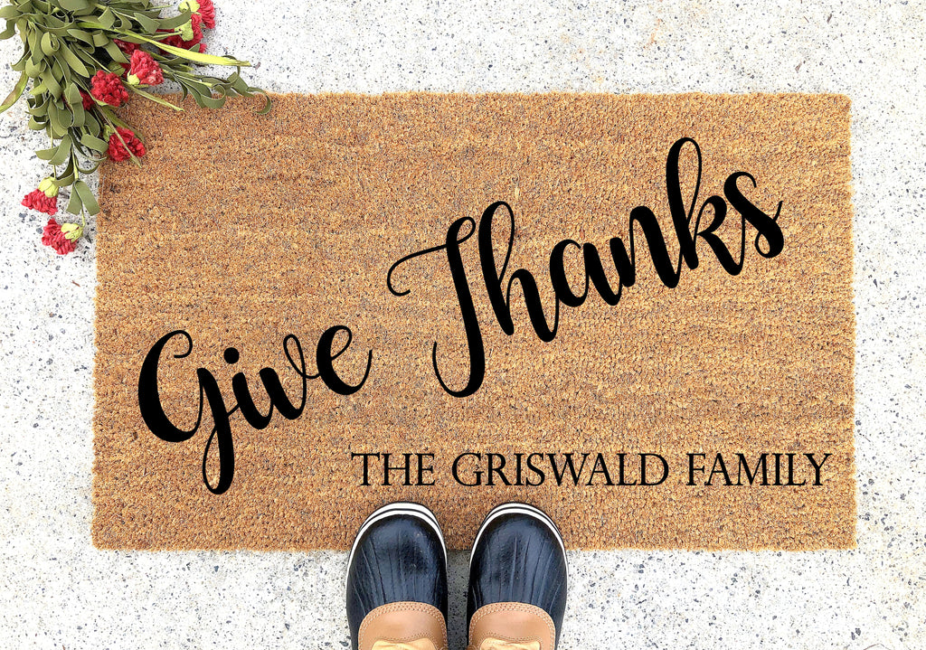 Give Thanks Personalized Doormat