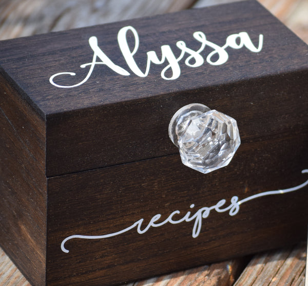Personalized Recipe Card Box with Wooden Divider Option