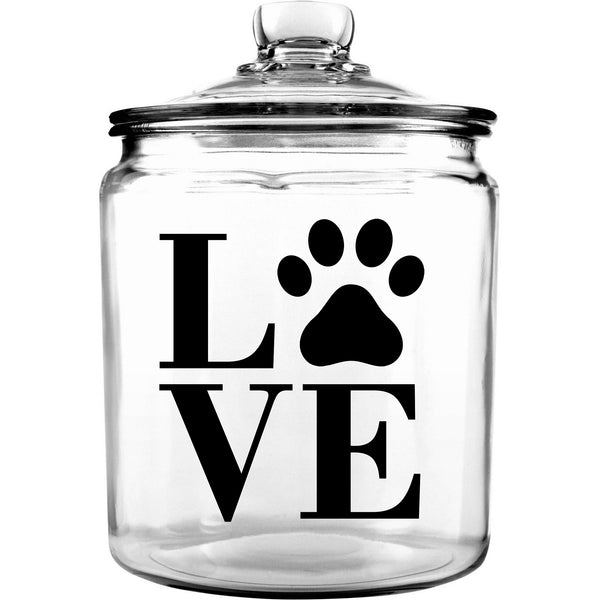 LOVE Glass Dog Bone Treat Jar with Lid