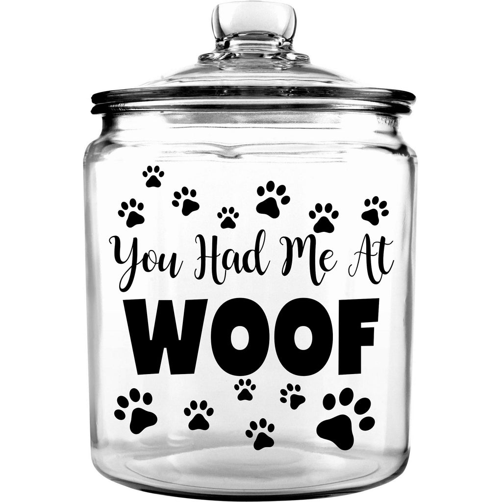 Glass Dog Treat Jar with Lid
