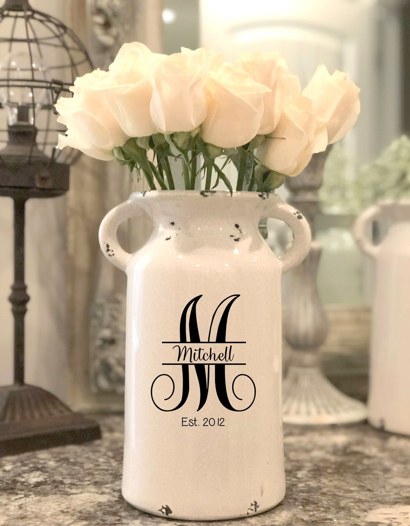 White Milk Can with Personalized Monogram
