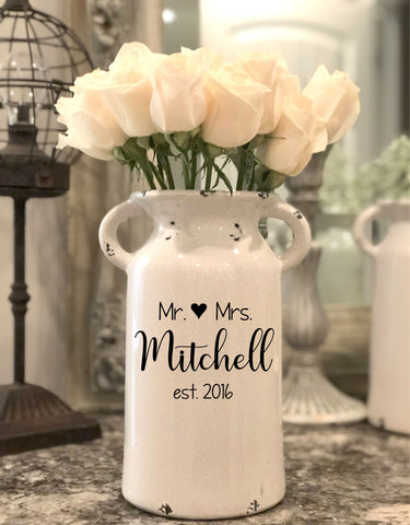 Mr and Mrs Personalized Milk Can Vase