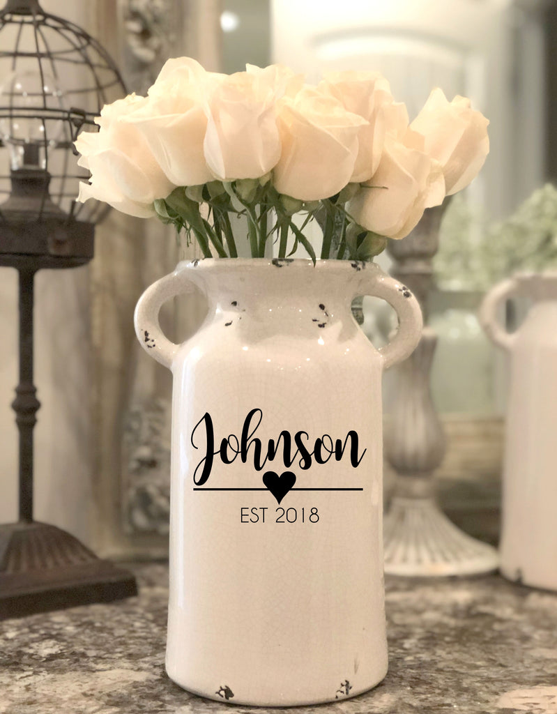 Personalized Milk Jug Vase