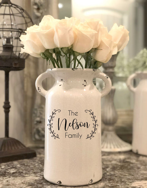 Milk Jug Vase with Personalization