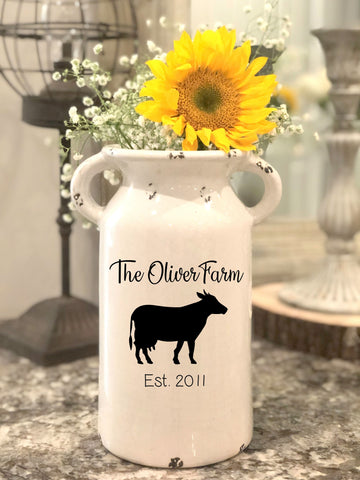 Personalized White Ceramic Milk Can
