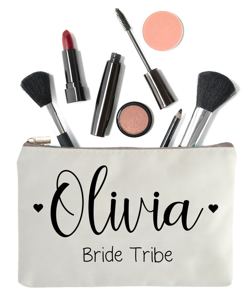 Bride Tribe Makeup Bag with Personalized Name