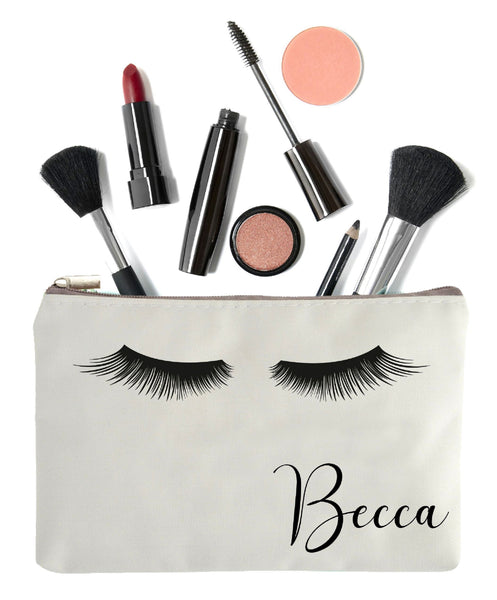 Eye Lashes Makeup Bag with Name