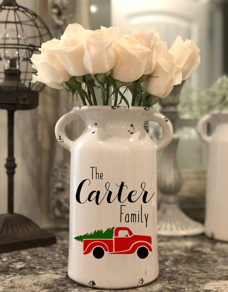 Farmhouse Christmas Milk Jug Flower Vase