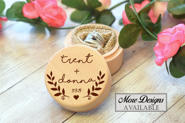 Round Wooden Ring Box