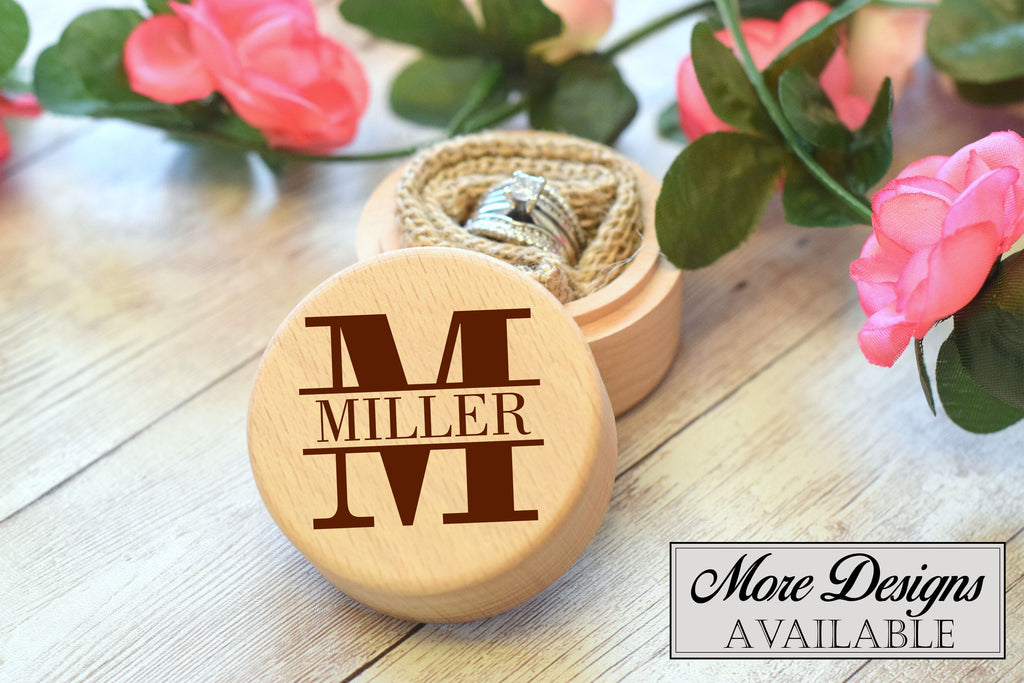 Round Ring Box with Monogram