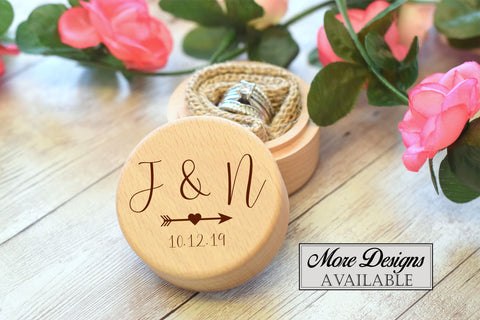 Wooden Round Ring Box
