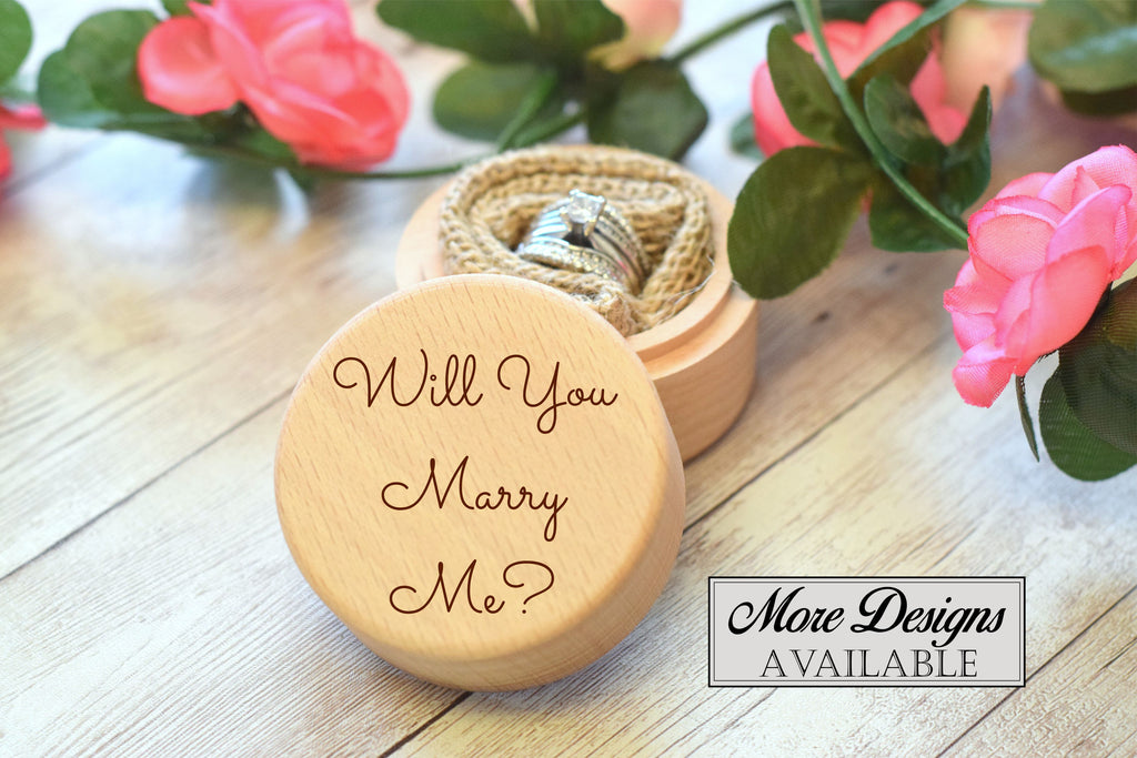 Will You Marry Me Round Wooden Ring Box