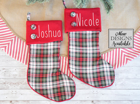 Personalized Plaid Stocking with Buttons