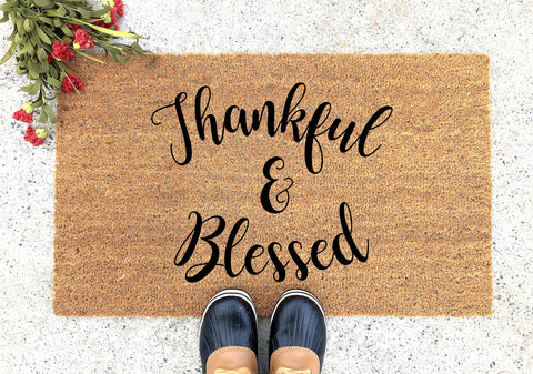 Thankful and Blessed Doormat