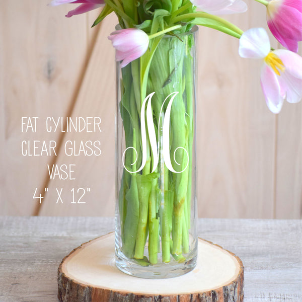 Monogrammed Glass Flower Vase