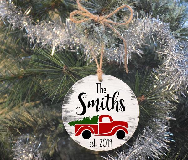 Personalized Christmas Truck Ornament